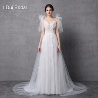 2017 New Style Real Photo Wedding Dress Spaghetti Bow Tie Strap A Line Tulle Exquisite Lace