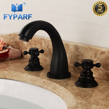 FYPARF Contemporary Black Basin Faucet for Bathroom 3 Hole Double Handle Hot And Cold Water Tap Brass Basin Mixer Bathroom Taps azos split faucetsoft basin brass orb cold and hot switch rotatable bathroom below counter basin balcony double handle three hol