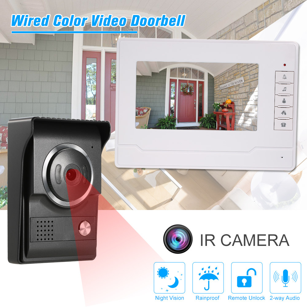 LCD Color Screen Video Door Phone with 1 Indoor Monitor White 1 Outdoor Camera Support Night