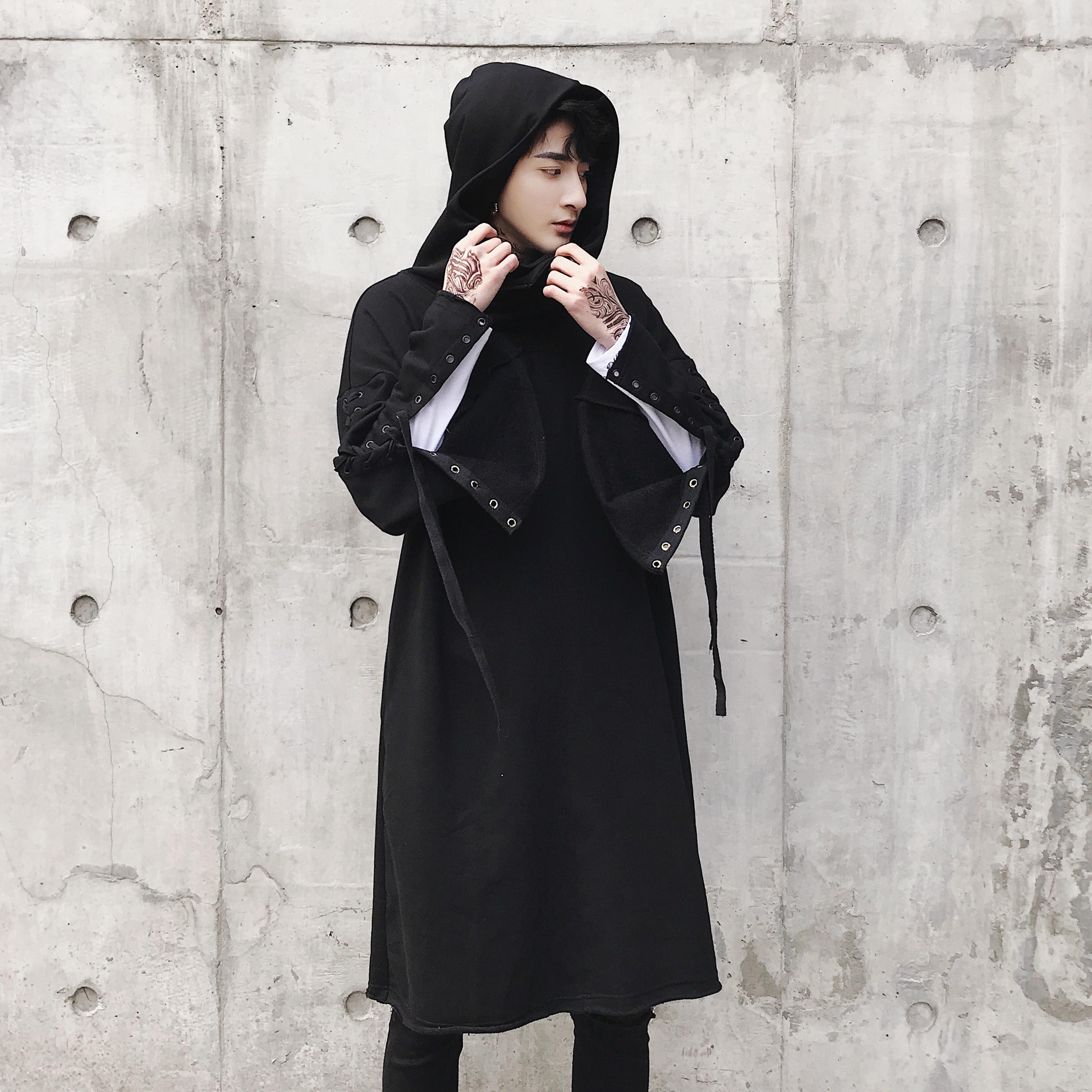 Для мужчин высокое качество панк готический Стиль Длинный свитшот мужской моды Повседневное свободные пуловер с капюшоном пальто с капюшо...