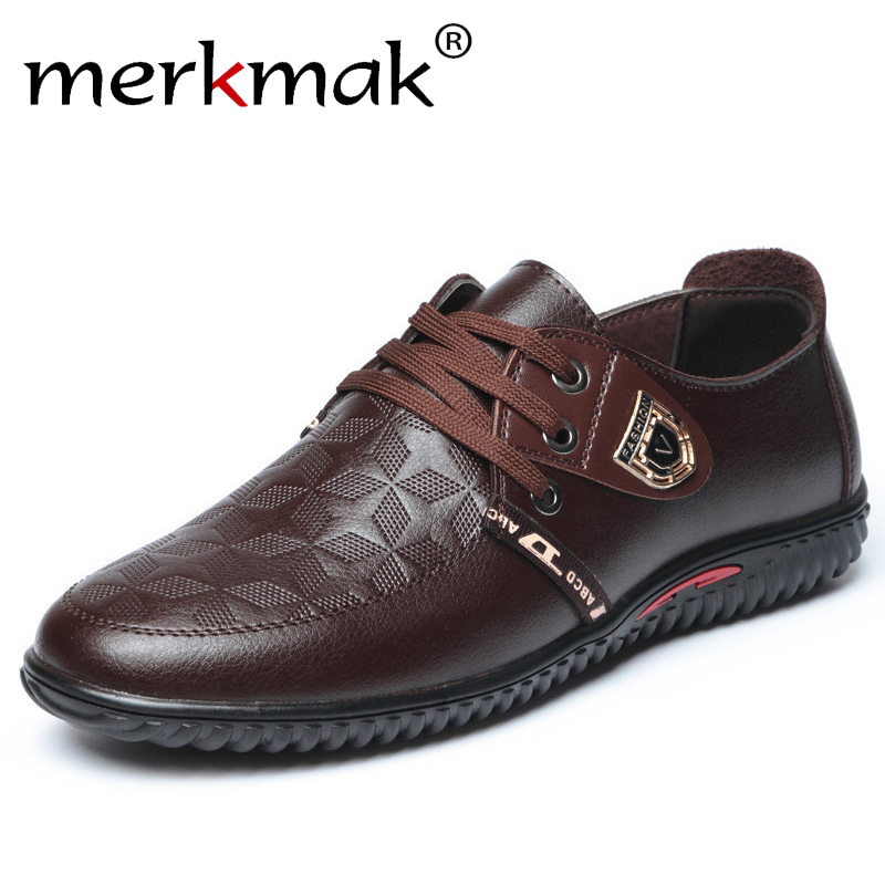 Merkmak Men Casual Shoes 2018 Spring Lace Up Super Comfort Breathable Genuine Leather Fashion Mens Leisure Shoes For Driving