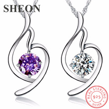 SHEON Heart Collection 925 Sterling Silver Simple Love Pendant Necklaces With Purple CZ For Women Jewelry