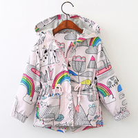 Beenira Brand Girls Outwear 2017 New Autumn Style Kids Floral Pattern Hooded Double Breasted Clothes Children