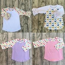 Fashion Baby Kids Girls Casual Ruffle Raglan Plain Solid Icing Raglan Black White Stripe Body Shirts In Cheap Price