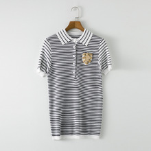 SHD020 Women Summer Hand Beaded sequined badge slim Stripe Polo neck knit short sleeved shirt