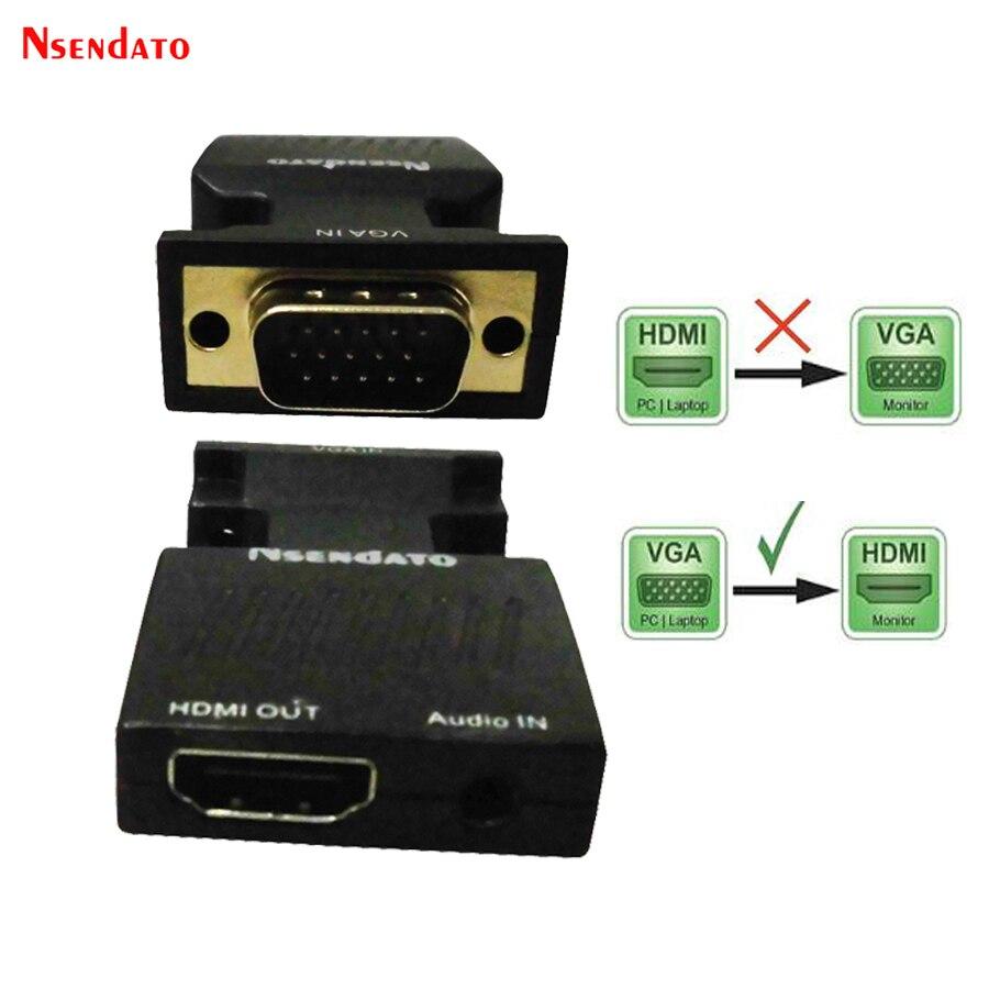 1080 p VGA 15pin entrada a salida HDMI HD adaptador de vídeo con audio VGA macho a HDMI adaptador video femenino