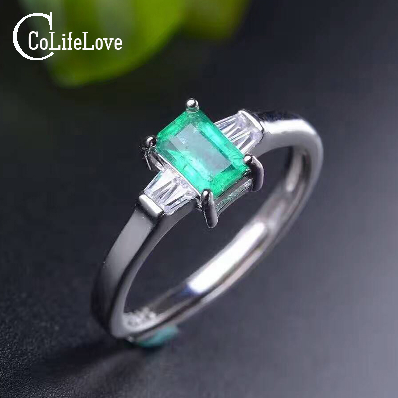 Elegant emerald ring simple design solid 925 silver emerald ring 4mm 6mm natural emerald jewelry romantic