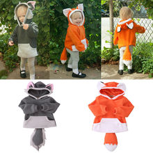 Warm Baby Hoodie Coat Boy Girl Kid Polar Fleece Animal Cartoon  Wolf Hoodies With Ears Hooded  Jacket  Sweatshirts Costume 0-4Y