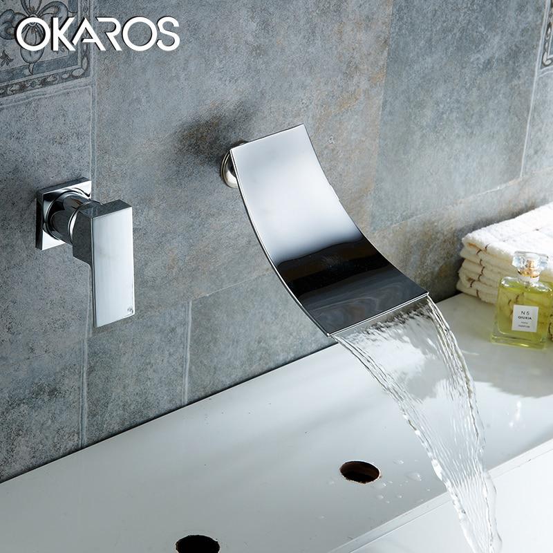 OKAROS Bathroom Basin Faucet Waterfall Faucet Brass Chrome Finish Lavotory Unique Hot Water Sink MixerTap Torneira Parede