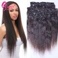 Yaki grampo em extensões do cabelo cabelo humano cabelo Natural brasileiro clipe Ins cor # 1b pode ser tingido