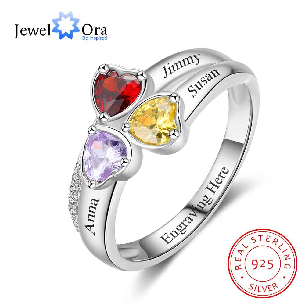Heart Birthstone Personalized Engrave 3 Name Ring 925 Sterling Silver Anniversary Jewelry Gift For Mom (JewelOra RI103260)Heart Birthstone Personalized Engrave 3 Name Ring 925 Sterling Silver Anniversary Jewelry Gift For Mom (JewelOra RI103260)