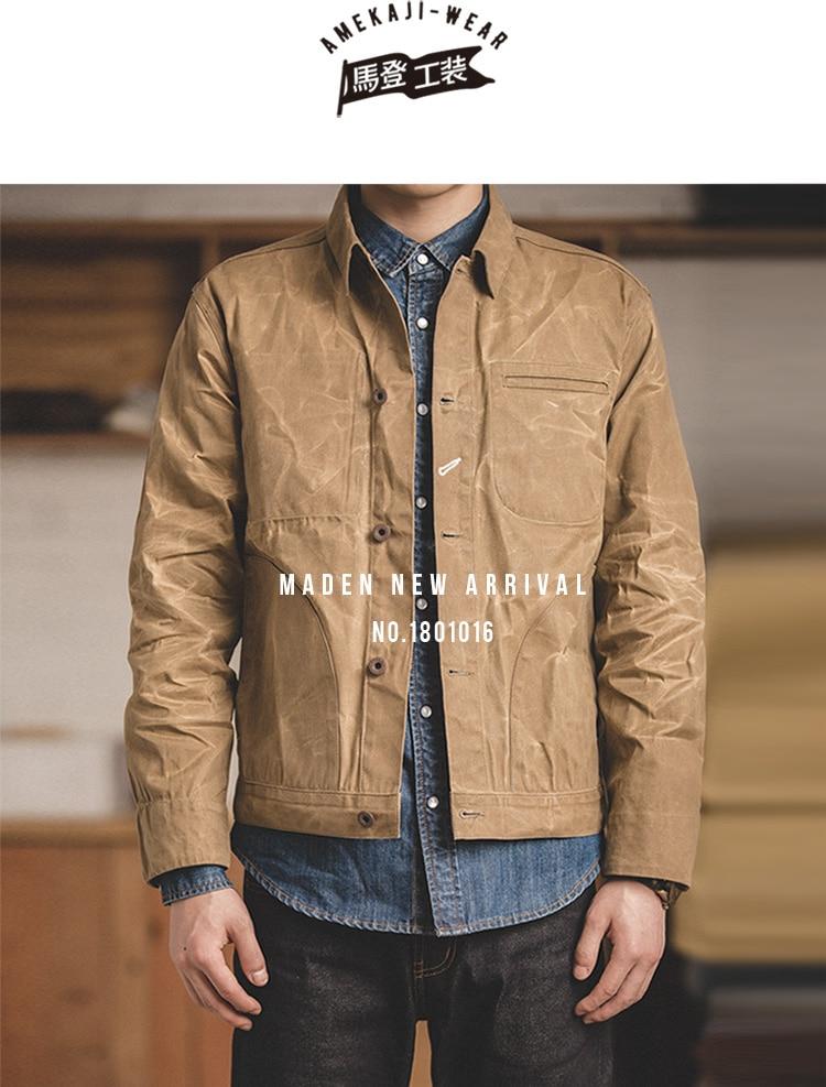 HTB1PwRqXfjsK1Rjy1Xaq6zispXaS MADEN Men's Waxed Canvas Cotton Jacket Military Light Spring Work Jacket Khaki