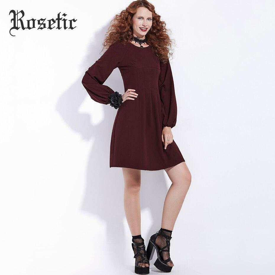 Rosetic Gothic Kleid Vintage Burgund Frauen Herbst Laterne Ärmel - Damenbekleidung - Foto 3