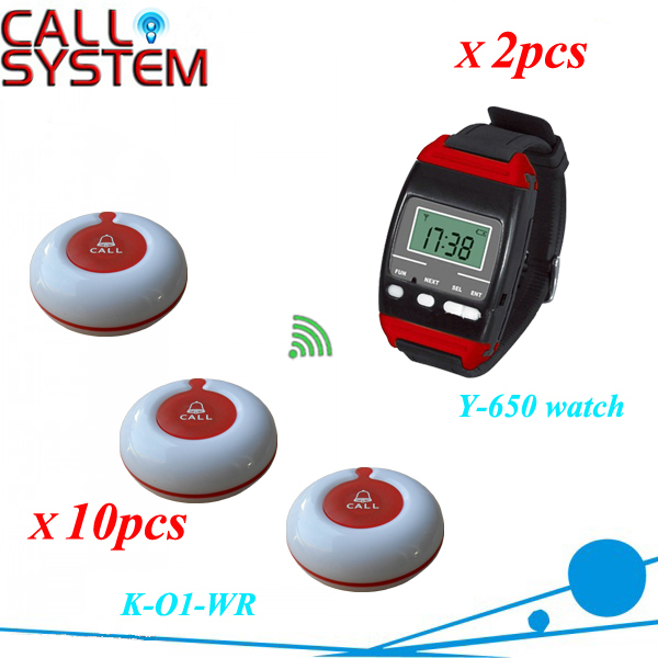 Wireless waiter call bell with 2 wrist watch pager and 10 service buzzer for customer use CE certification restaurant pager watch wireless call buzzer system work with 3 pcs wrist watch and 25pcs waitress bell button p h4