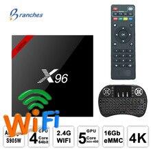 TV Box X96 X96W, Android 7,1, decodificador de señal con WiFi, S905W, dispositivo de tv inteligente, android, 2GB de ram, conjunto de cuatro núcleos, reproductor multimedia en 4K, X 96