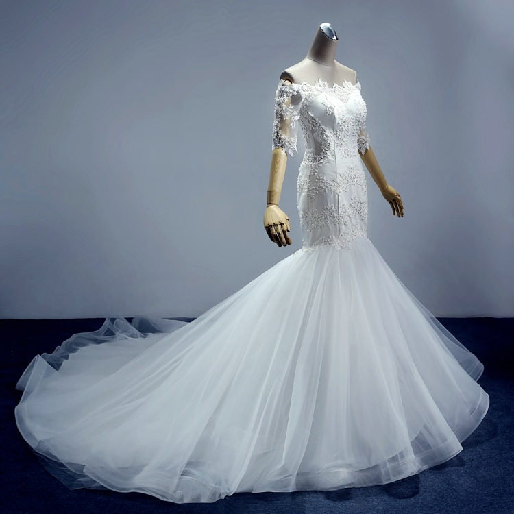 iGown Brand Half Sleeve Boat Neck Mermaid Wedding Gown Pearls ...