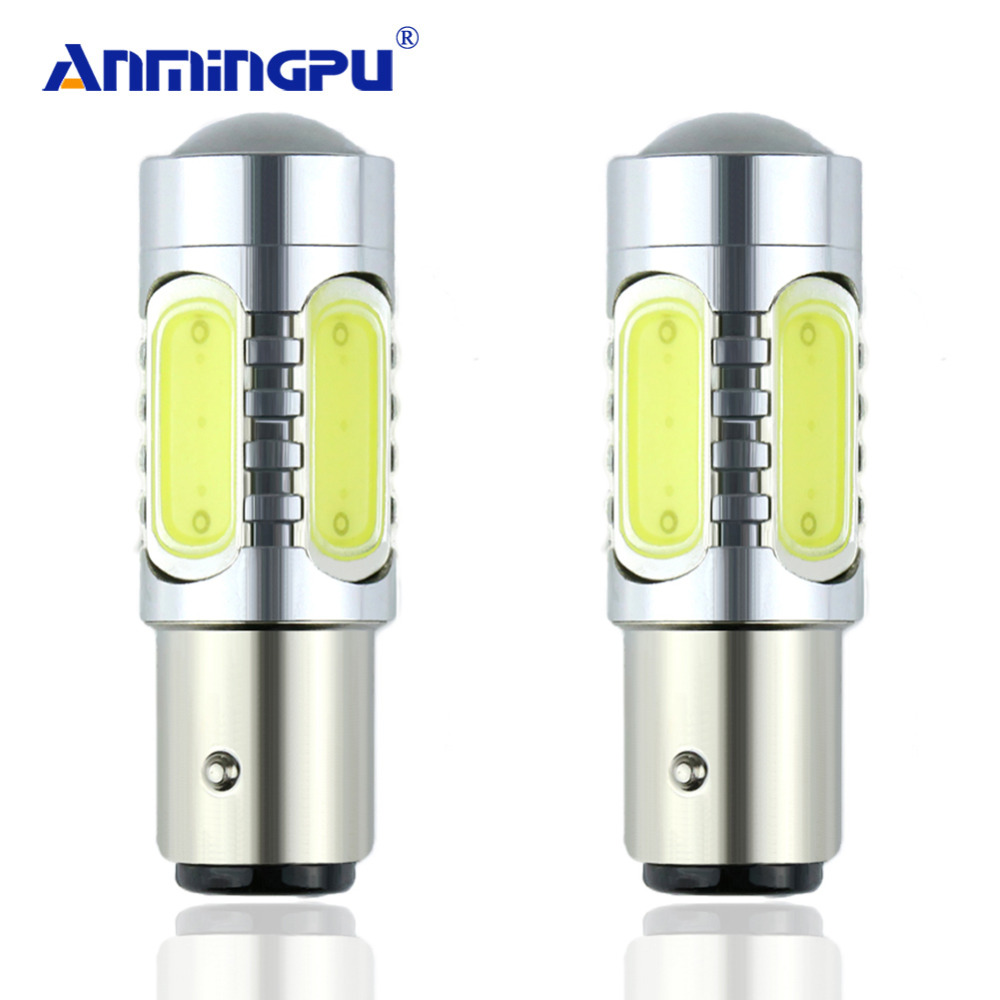 ANMINGPU Signal Light 2x COB P21/5w Bay15d 1157 LED Bulb Red/White/Yellow Car Tail Bulbs Brake Light Stop Parking DRL Lamp цена