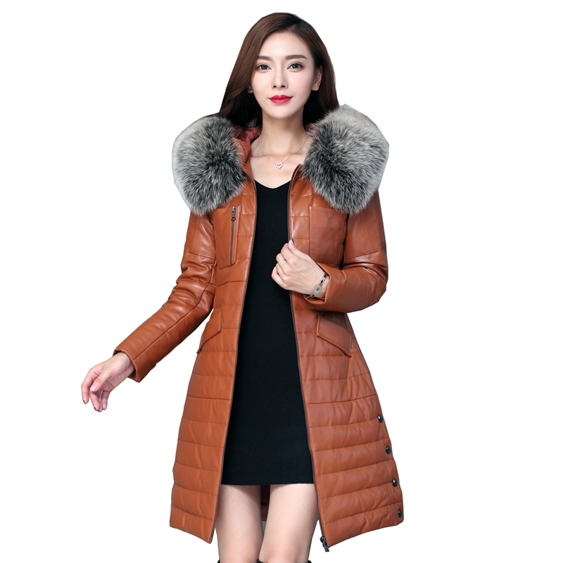 European Winter Women Real Leather Parkas   Down     Coats   Fox Fur Hoody Lady Warm Outerwear Overcoat Plus Size 3XL LF4203