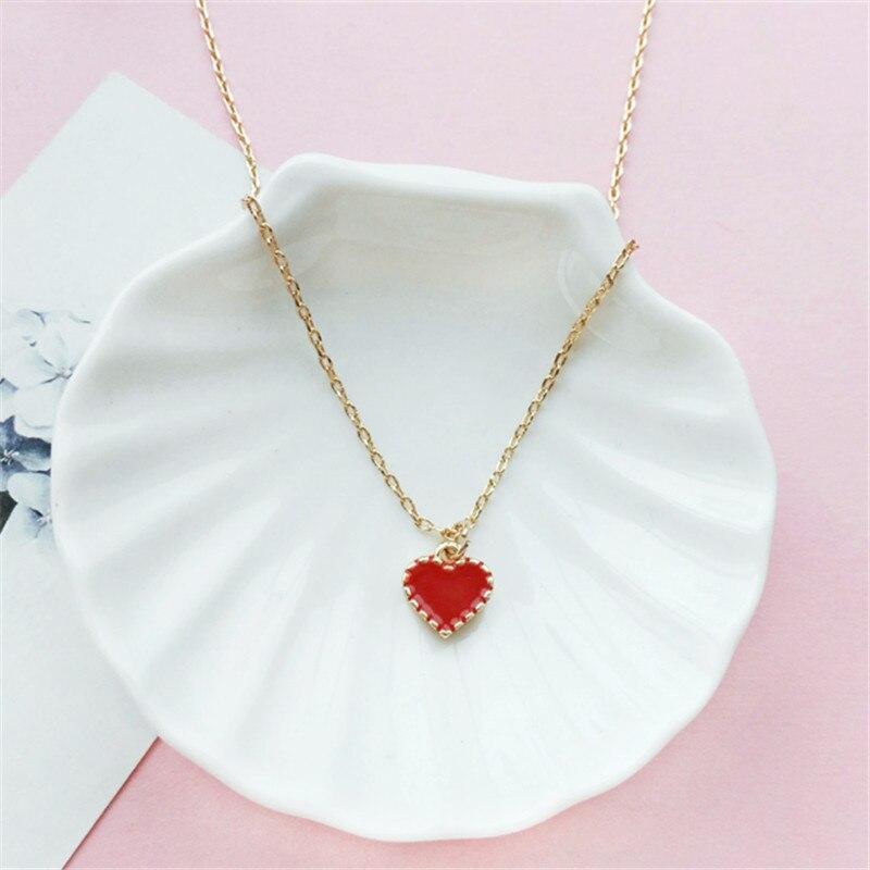Mulher moda roupas e acessórios colar cadeia clavícula com minimalista cadeia clavícula colar de corações Vermelhos para a mulher