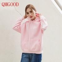 QMGOOD Korean BF Style Loose Pink Hoodie Autumn Winter Woman 2017 Hoodies Sweatshirt White Plus Cashmere Jacket Pullover Female