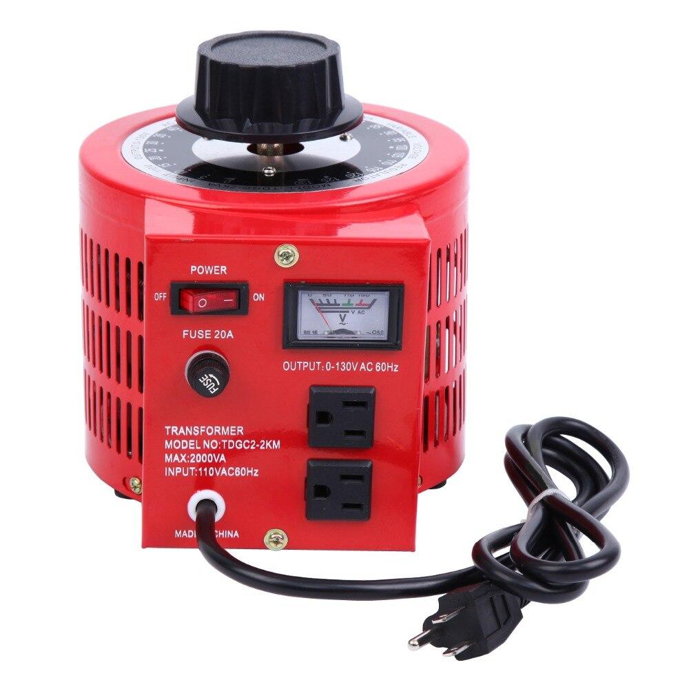 2000 W 20Amp 0-130 V sortie automatique Variable transformateur AC régulateur de tension mesurée
