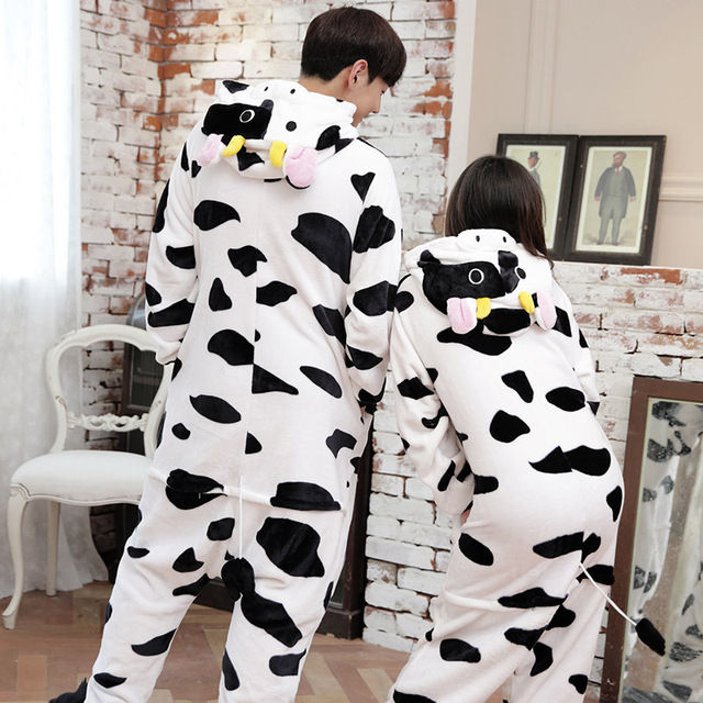 New Fashion Pajamas Adult Women Animals Sleepwear Clothing Winter Hooded Flannel Pajama Sets Unisex Cartoon Animal Pajamas 1