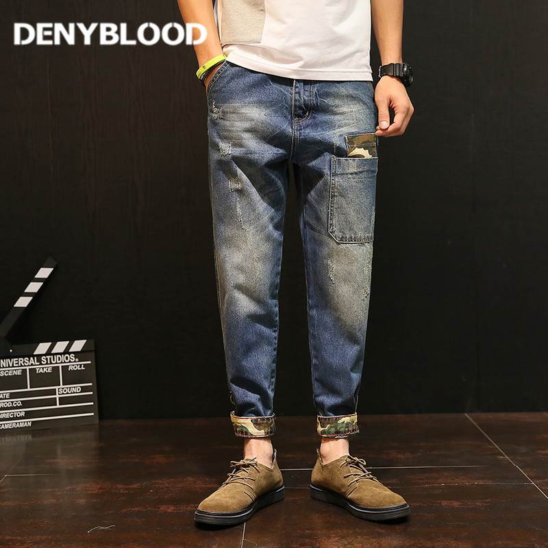 Denyblood Jeans Mens Distressed Jeans Ripped Camouflage Patchwork Pocket Harem Pants for Men Cross-pants Darked Wash Jeans 5151 ...