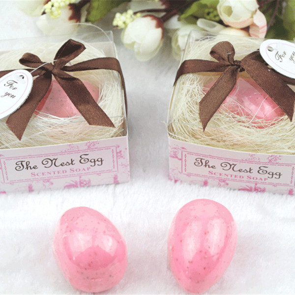 50pcs wedding favor pink and blue nest egg soap baby shower favor soap gift DHL Free