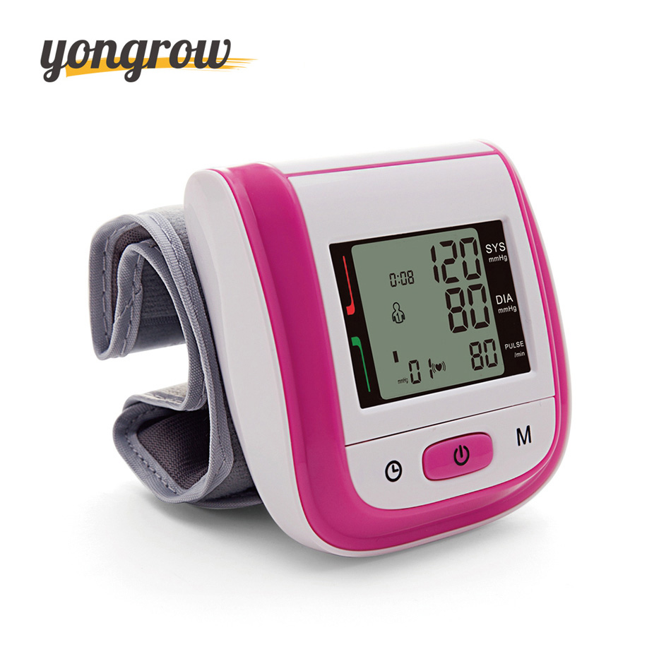 Yongrow Tonometer Automatic Wrist Digital Blood Pressure Monitor Digital lcd Sphgmomanometer Heart Beat Rate Pulse Meter 2016 home care laser light therapy instrument wrist watch type reduce high blood pressure