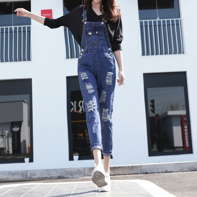 New arrival fashion spring quality casual loose big size ankle length hole overalls high waist ripped washed women jeans J7713 spring new fashion cotton jeans women loose high waist washed vintage big hole ripped ankle length denim straight pants mz1535