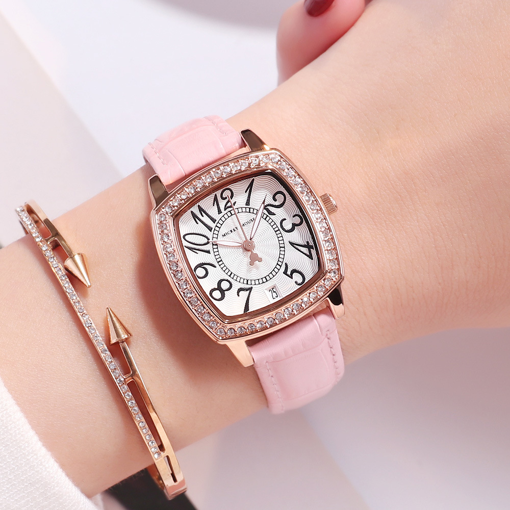 casual womens genuine leather wristwatches quartz square number Disney brand ladies watches waterproof diamond woman clocks