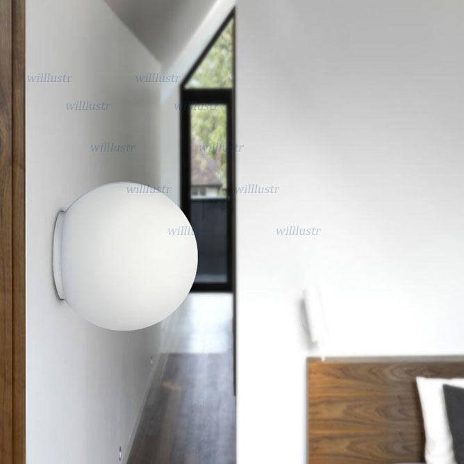 Image 4 - Modern LED Wall Sconce Light Diameter 14cm 25cm 35cm Milk White Round Glass Ball Shade Dioscuri Parete Ceiling Lamp Soffitto-in LED Indoor Wall Lamps from Lights & Lighting
