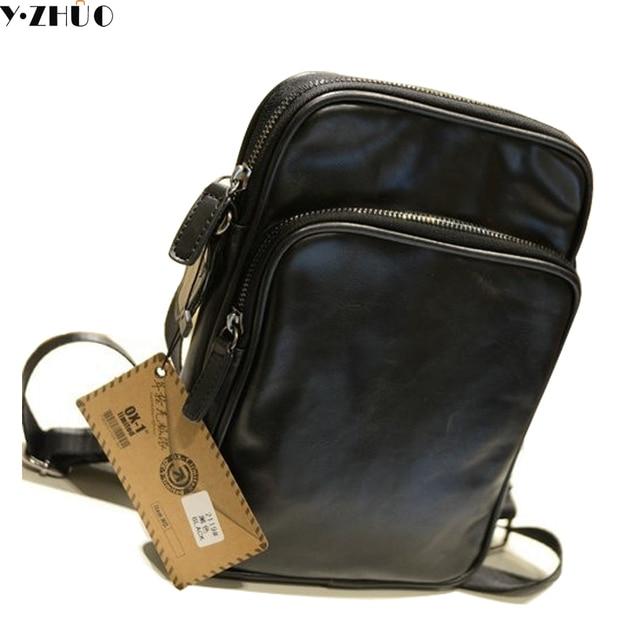 Leather Small Man Bag Vintage Men Messenger Bags Hot Mens Crossbody Black Single Shoulder