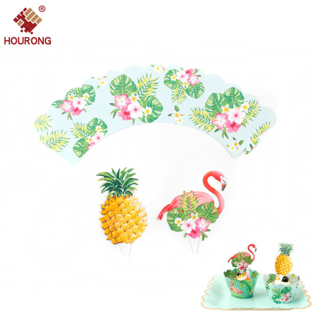 569442ca8b6ef 12 Pcs Tropical Pineapple Rainforest Flamingo Birthday Party Cake border  Kids Cupcake Party Kitchen Cake Decoration