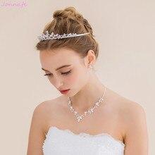 Jonnafe brillo AAA circón collar nupcial Pendientes set color plata mujeres desfile prom Juegos de joyería Accesorios de boda