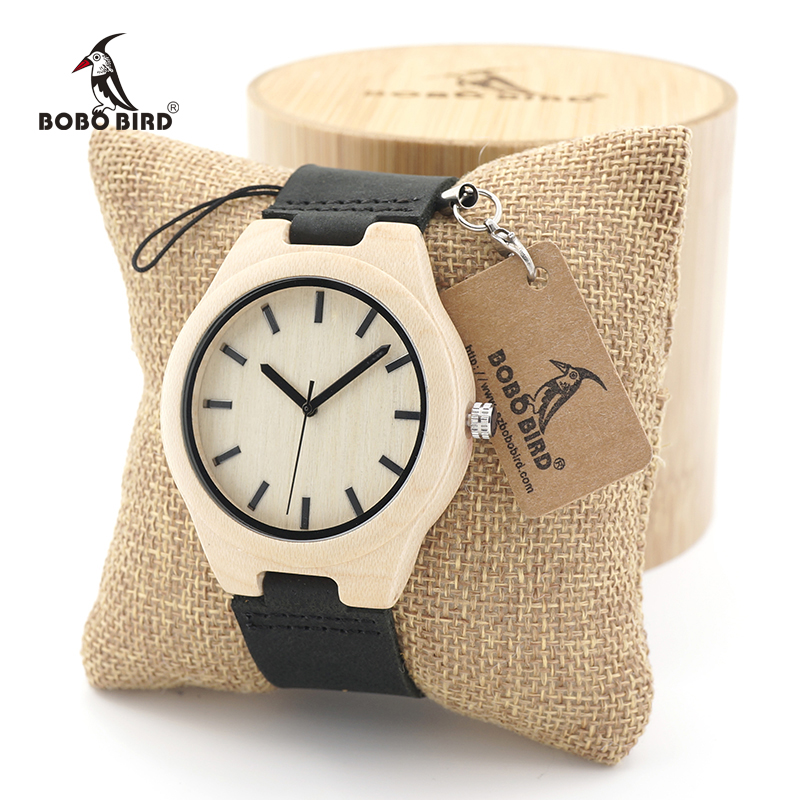 BOBO BIRD Mens Top Brand Luxury Wooden Quartz Watches Japanese 2035 Movement Watches with Wide Leather Strap relojes hombre 2017 luxury brand bobo bird men watches wooden quartz wristwatch genuine leather strap relogios masculinos b m14