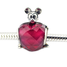 Pandulaso Mother's Day Mouse Love Heart Glass Beads Fits Charms 925 Silver Original Bracelets For Woman DIY Fine Jewelry Making