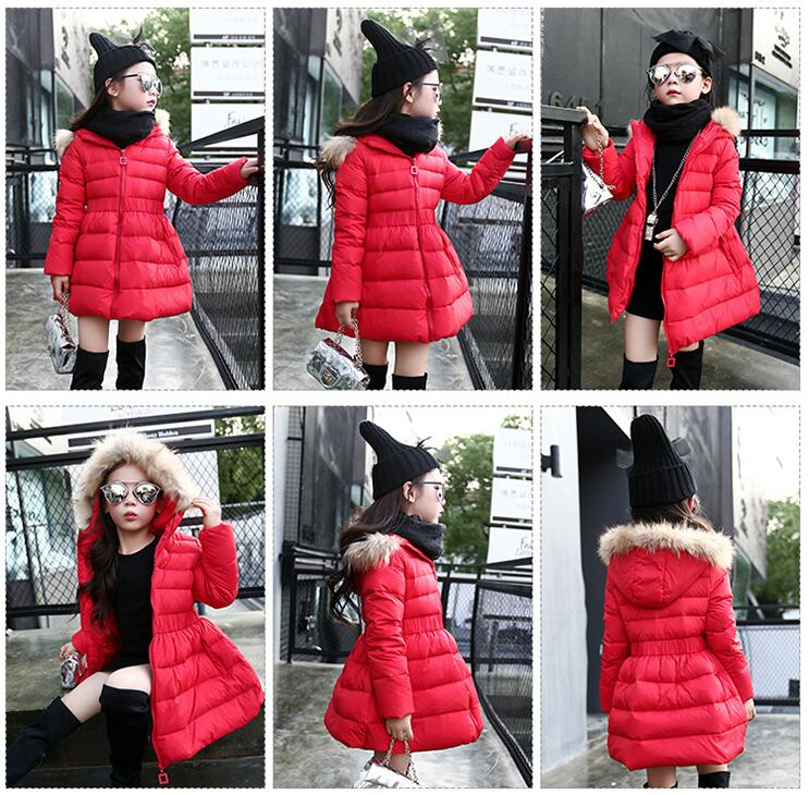 Red,Pink,Black Fashion Winter Baby Girls White Duck Down Jacket Warm Thicken Children Coat Long Style Hoodies Outerwear
