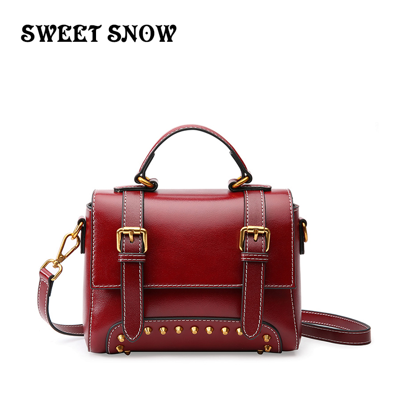 SWEET SNOW 2019 Leather Handbag Leather Messenger Bag Ladies Leather Bag Brand Luxury Handbag Evening Bag