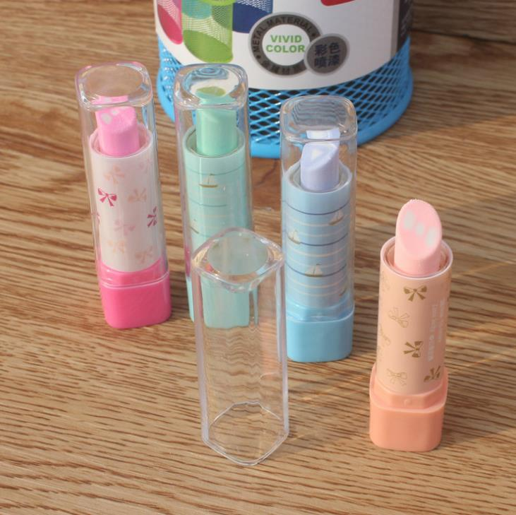 SET OF 4 LIPSTICK SHAPED RUBBERS ERASERS SET