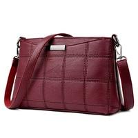 Women Genuine Leather Plaid Messenger Bags Sac A Main Shoulder Bags Women Crossbody Bag Ladies High