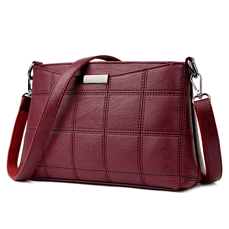 Women Genuine Leather Plaid Messenger Bags Sac a Main Shoulder Bags Women Crossbody Bag Ladies High