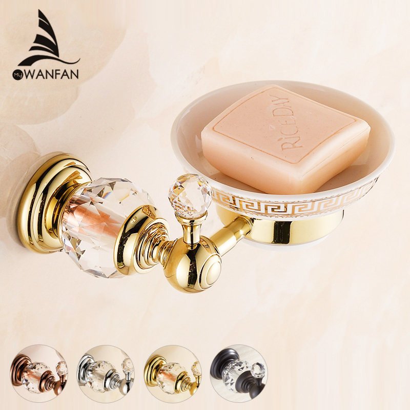 Soap Dishes Euro style Crystal Brass Soap Holder Ceramics Soap Dish For Bathroom Home Decoration Bathroom Accessories HK 31