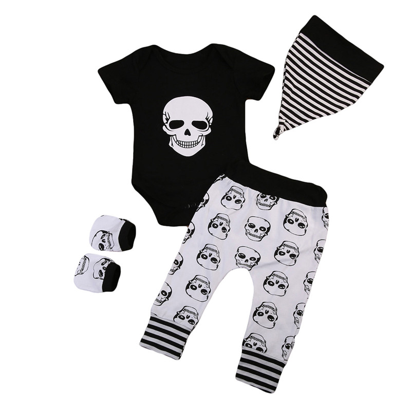 2018 Toddler Baby Boy Short Sleeve Bodysuit +Pants Outfits Skull Clothes Set Halloween Skeleton Print Soft Cotton Clothing