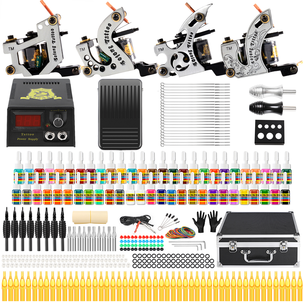 Solong Tattoo Complete Tattoo Kits 10 wrap Coils Guns Machine 54Color Black Tattoo Ink Power Supply Disposable Needle TK459 wholesale 60 x disposable black tattoo grips tube assorted mixed size for needle ink kit 1 25mm freeshipping