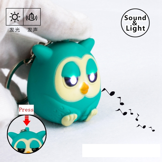 Cute owls LED keychains with sound glowing pendant keychais,creative gifts children toy gift for lovers,kawaii keyrings 2#