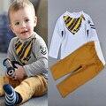 Meninos primavera Outono Conjuntos de Roupas Bibs padrão Longo-Sleeved T-Shirt + Calças Cáqui Menino Define Crianças Moda roupas Ropa Bebe