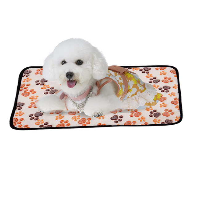 Best Quality Pet Mat Paw Print Cat Dog Puppy Cushion Fleece Soft Blanket Bed S