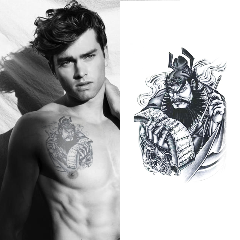 Chinese styles mens temporary tattoos king of hell for How to get fake tattoos off