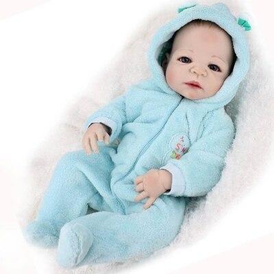 55 cm/22 inch 전체 실리콘 reborn 아기 인형 소년 brinquedos 수제 전신 실리콘 reborn 인형 bebe bonecas 아이 선물-에서인형부터 완구 & 취미 의  그룹 1
